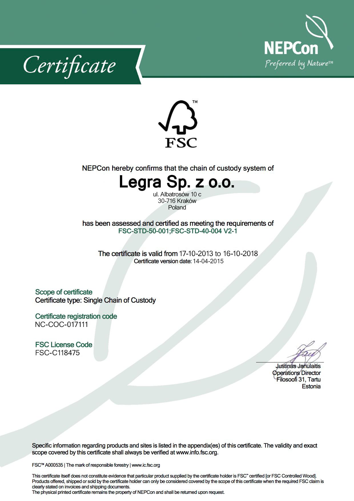 Legra certyfikat FSC